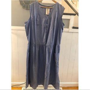 Blue denim floral pocket Dress